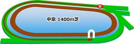 中京競馬場の芝1400mコース