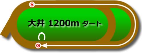 大井競馬場のダート1200mコース