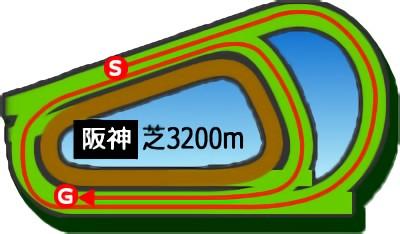 阪神競馬場の芝3200mコース